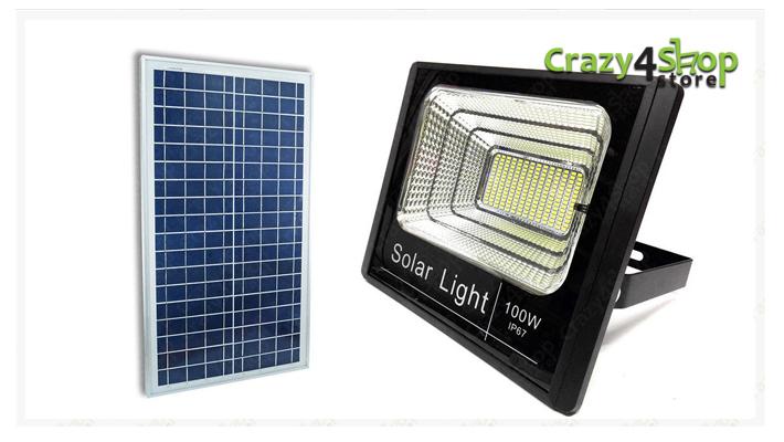 Faro faretto led smd w con pannello solare ricaricabile energia